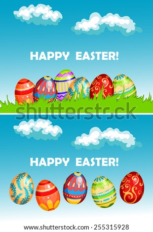 Easter greeting cards with easter eggs decorated traditional floral ornament in green spring grass and on blue sky background  - stock vector