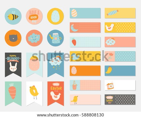 Easter greeting gift tags stickers labels stock vector 588808130 easter greeting gift tags stickers and labels template in vector holiday spring and summer negle Choice Image