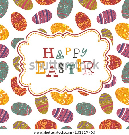 Easter greeting on seamless eggs pattern. Vector, EPS10