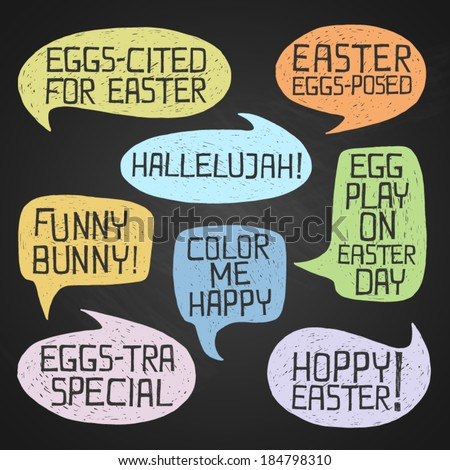 Easter hand-drawn colorful humorous phrases on chalkboard background, eps10 - stock vector