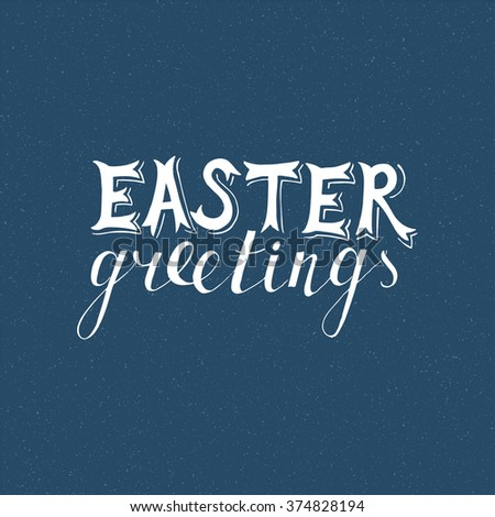 Easter hand drawn lettering on blue background - stock vector