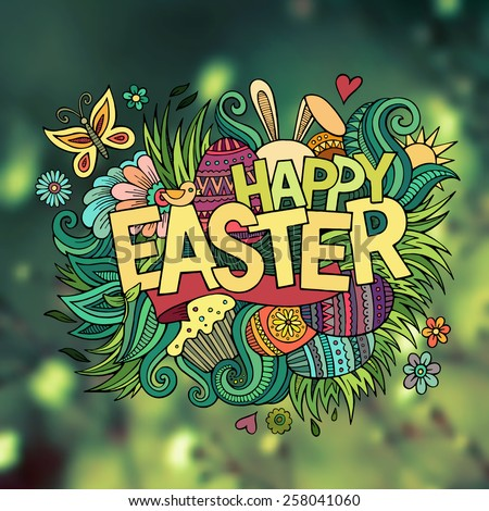 Easter hand lettering and doodles elements. Vector blurred illustration - stock vector