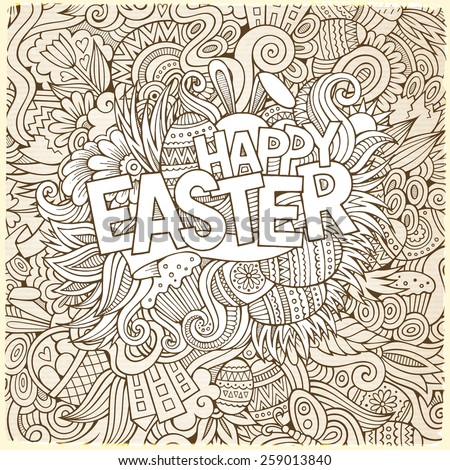 Easter hand lettering and doodles elements vector illustration - stock vector