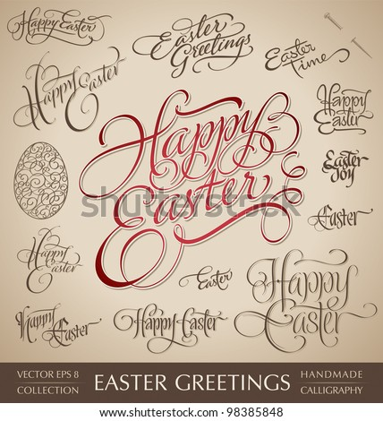 easter hand lettering set - 13 handmade calligraphic greetings; scalable and editable vector illustration (eps8);