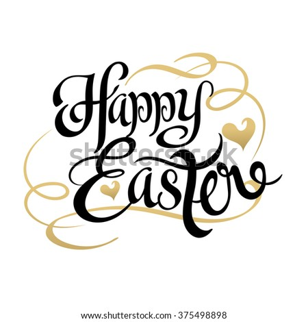 EASTER. Happy Easter. Easter Sunday. Easter Day. Easter Background. Easter Card. Easter Holiday. Easter Vector. Happy Easter Sunday. Easter Art. Hand Lettering. Text. Dark. Black. Vector Art - stock vector