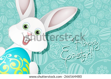 Easter Holiday Background with  Egg and Rabbit - stock vector