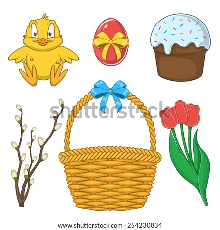 Easter holiday collection. Set of traditional design elements isolated on white. Eps 10 vector illustration. - stock vector
