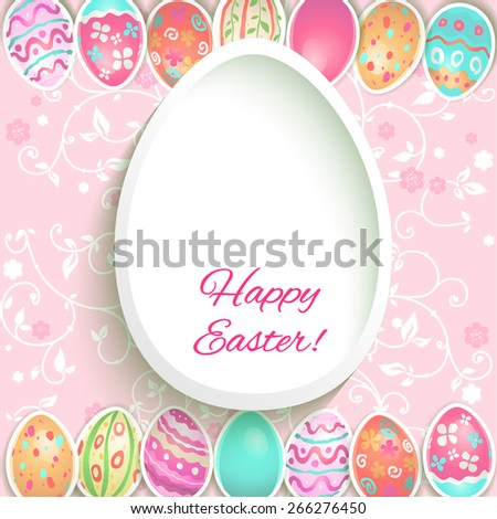 Easter holiday frame with painted eggs. Place for text. - stock vector