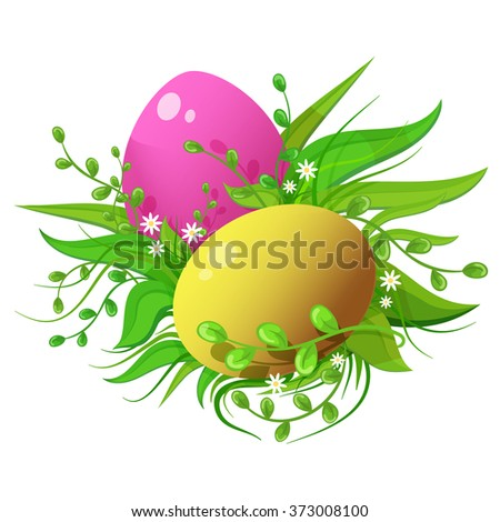 Easter holiday image. Colorful happy eggs in bright grass, leaves and flowers. Vector illustration isolated on white background. - stock vector