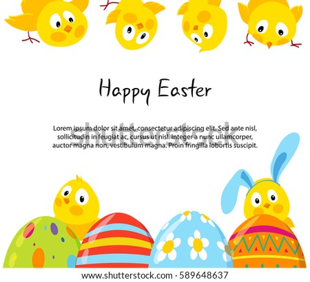 easter horizontal frames with cute funny chicks and decorative eggs vector background place for - Easter Photo Frames