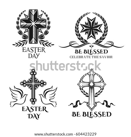 Easter Icons Crucifix Cross Ornate Symbols Stock Vector 2018