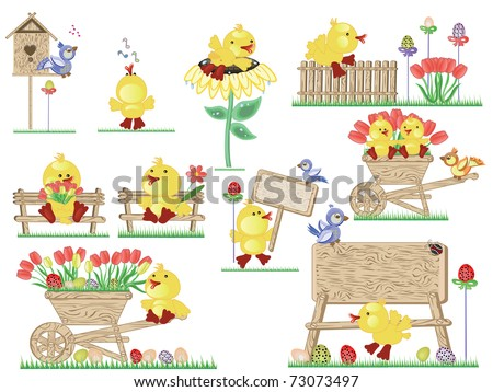Easter icons ,ducklings - stock vector