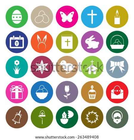 Easter icons set circle design vector illustration