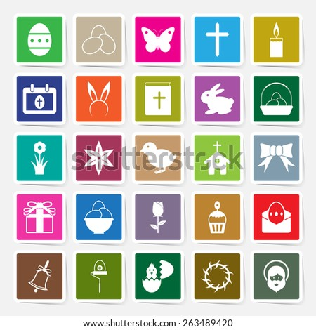 Easter icons set square sticker design vector illustration