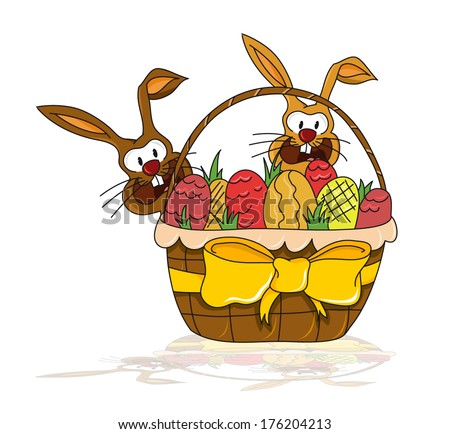Easter illustration - two small bunnies behind a big basket with easter eggs (vector)