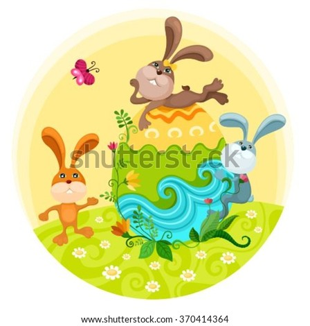 easter illustration with rabbits - stock vector