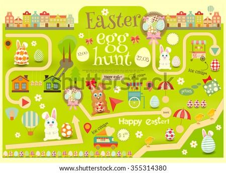 Easter Invitation Card. Easter Egg Hunt. Vector Illustration. - stock vector
