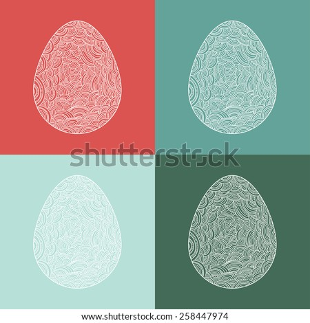 easter lacy egg set - stock vector