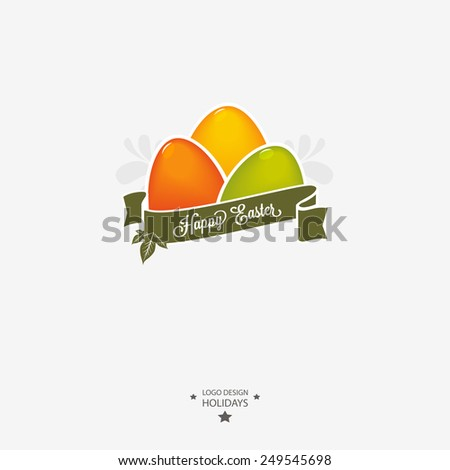 Easter logo, emblem with ribbon. - stock vector