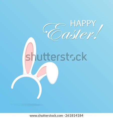 Easter mask with rabbit ears on blue background, illustration. - stock vector