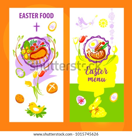 easter menu template banner poster silhouette stock vector