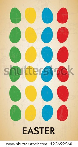 Easter multicolored egg pattern, vector illustration for poster or card - stock vector