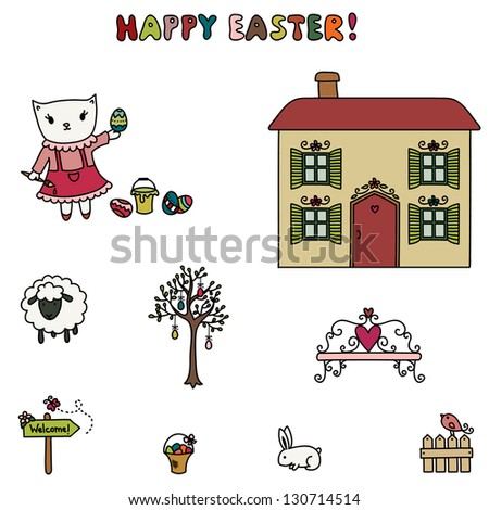 Easter of little kitten. Cartoon illustration. Hand drawn colorful elements, isolated on white - stock vector