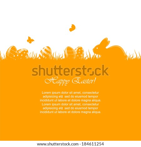 Easter orange background with little rabbit and eggs in a grass, illustration. - stock vector