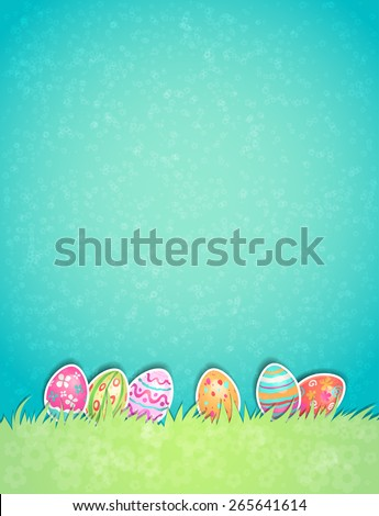 Easter painted egg on light pastel background with copy space. - stock vector