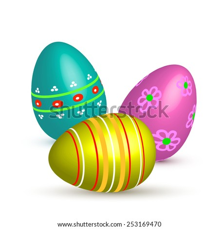 Easter painted eggs.Vector illustration. - stock vector