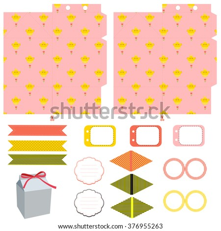 Easter party set gift box template stock vector 376955263 easter party set gift box template empty labels and cupcake toppers and food tags negle Images