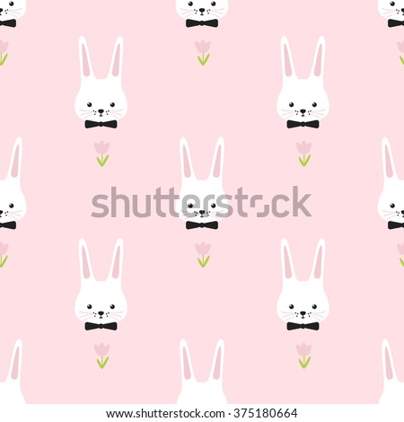 Easter pattern. Bunny. Simple funny seamless.