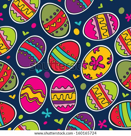 Easter pattern seamless with eggs - stock vector