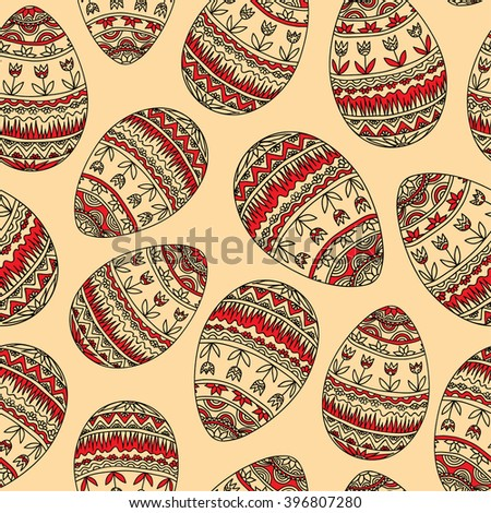 Easter Pattern With Red Eggs On The Beige Background