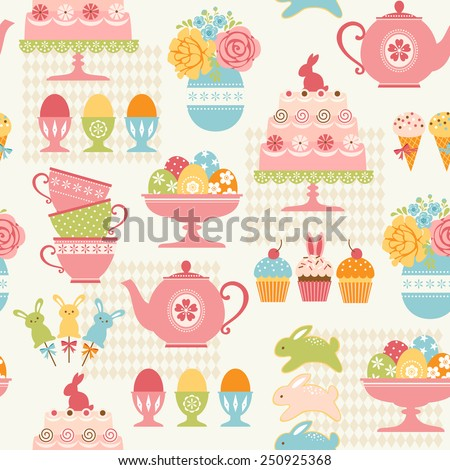 Easter pattern with sweets, Easter eggs and flowers. - stock vector