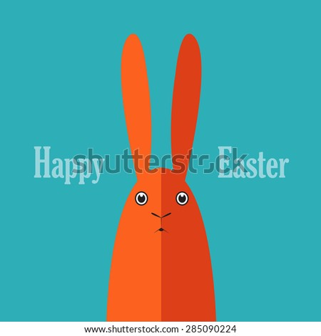 Easter postcard. Cute rabbit. - stock vector