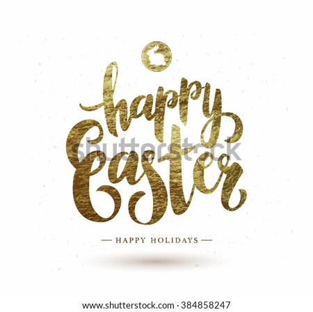 Easter Postcard with Gold Foil  Calligraphic Text Composition.