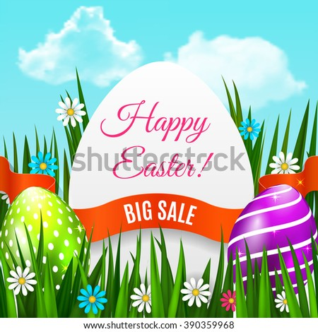 Easter poster. Easter background for advertising, sale or greeting card. Vector illustration - stock vector