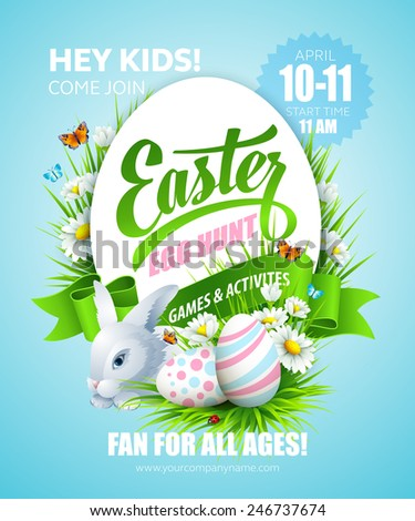 Easter poster. Vector illustration - stock vector