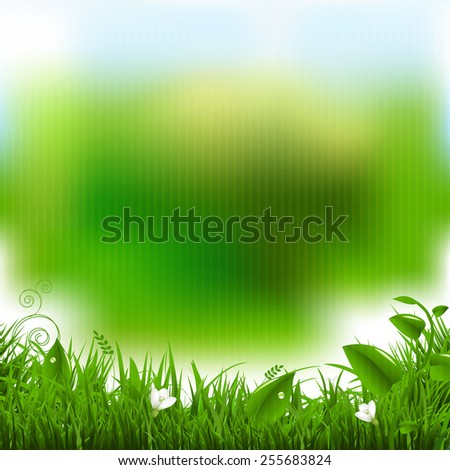 Easter Poster With Grass And Flowers With Gradient Mesh, Vector Illustration