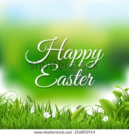Easter Poster With Grass With Gradient Mesh, Vector Illustration - stock vector