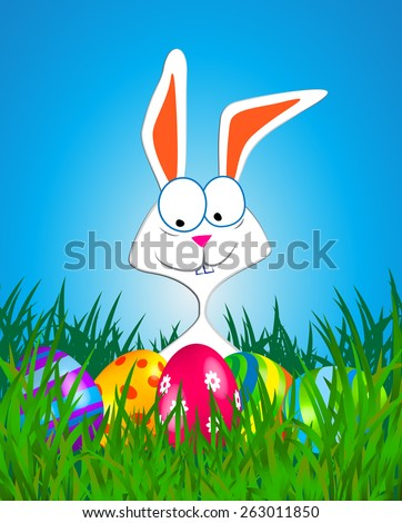 Easter rabbit and eggs in the grass (Vector image) - stock vector
