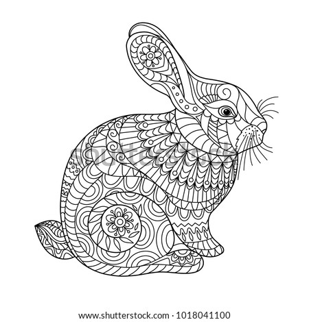 Easter Rabbit Coloring Page Adult Children Stock Vector ...