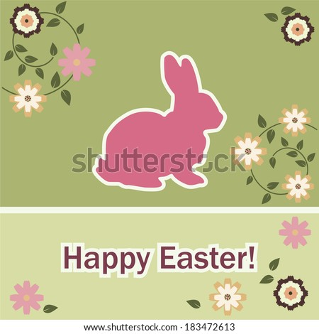 Easter rabbit, flower. Card
