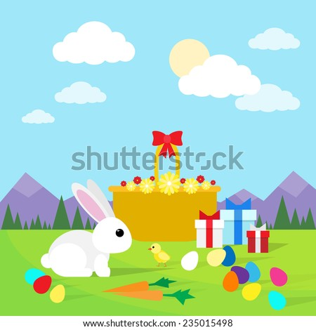 easter rabbit greeting card with eggs and rabbit on green grass blue sky flat vector illustration