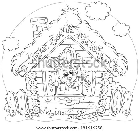 Easter rabbit looking out of the window of his small log hut - stock vector