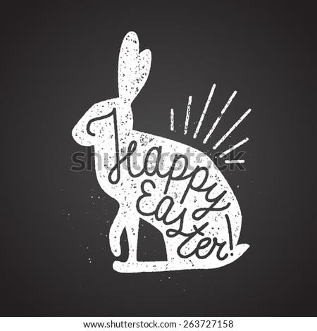 easter rabbit rubber stamp. vector illustration - stock vector