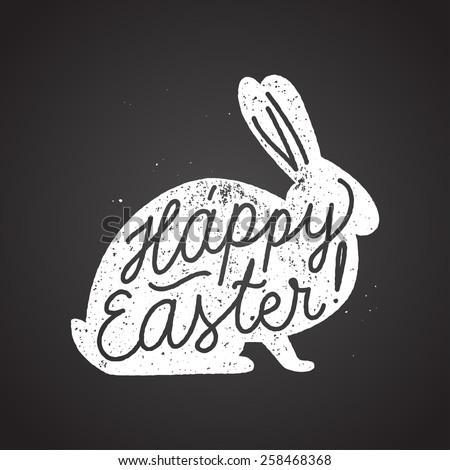 easter rabbit sign calligraphy. chalk handwriting. vector illustration - stock vector