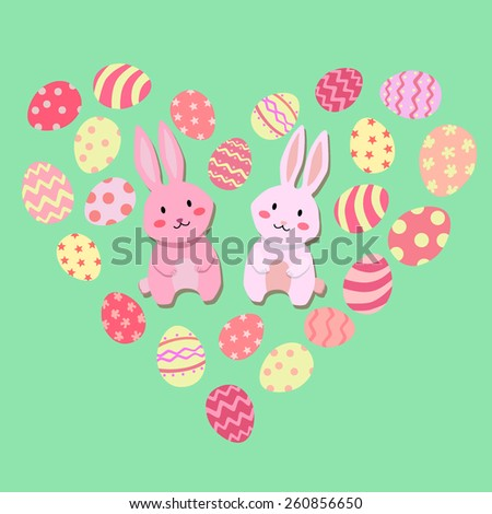 Easter rabbits are surrounded by easter eggs with valentine theme. - stock vector