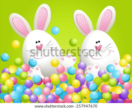 Easter rabbits in candies - stock vector